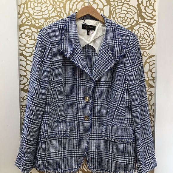 Escada Jackets & Blazers - Escada Blue & White Raw Edges Blazer Two Button
